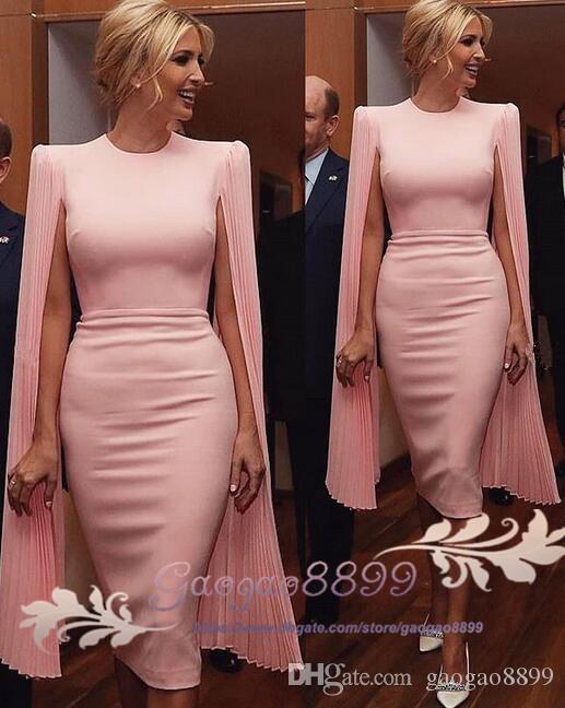2019 Modest Modest Pink Weath Vestidos de noche Joya Cuello Partido de fiesta Cocktail Bats Formal Vestidos con mangas largas de gasa suave Hecho a medida Robes de Bal