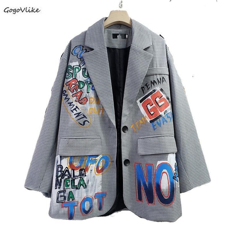 Британский стиль клетчатый костюм блейзер женщины граффити печати верхняя одежда женский плюс размер пиджак женский шикарный корейский пальто LT882S30