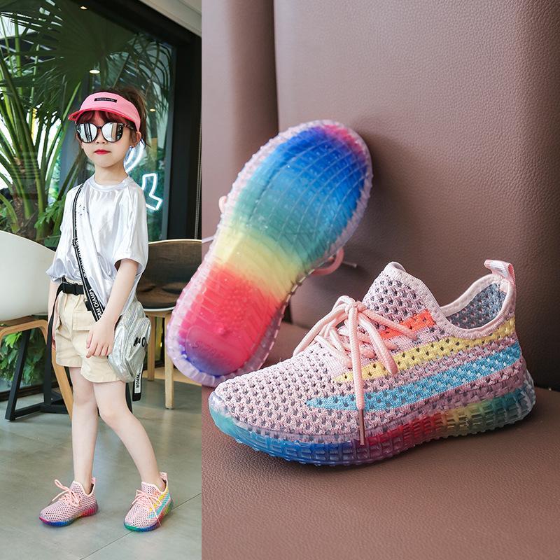 Дети Спортивная обувь 2020 лето новые девушки сетки кроссовки мальчиков отдыха Вязание Дети Мода Hookloop Кроссовки малышей