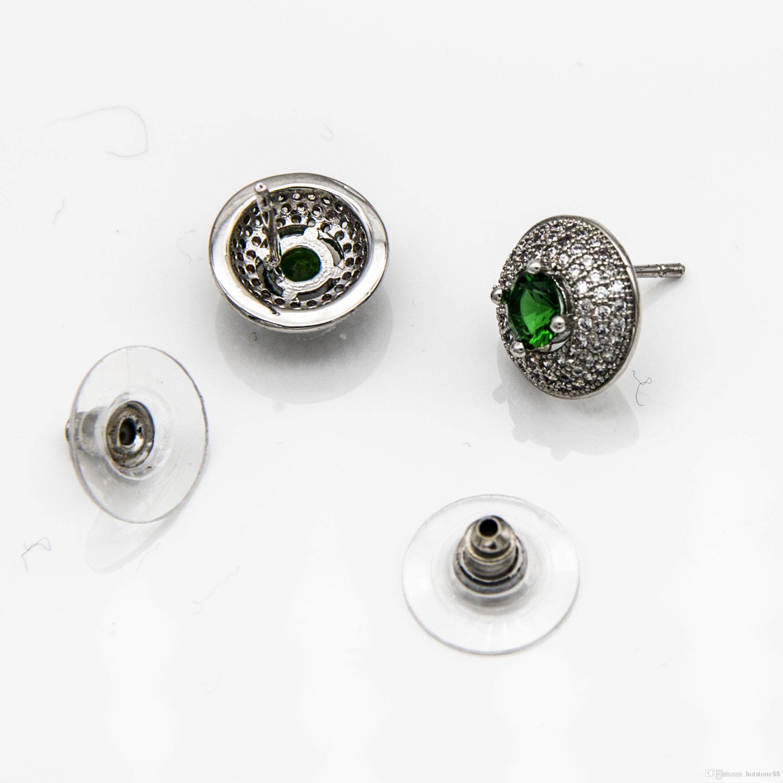 Boutique-Weißgold überzogene runde Form-Knopf-Bolzen Earirngs mit weißen grünen Zirkon-Hochzeits-Schmuck-Geschenken für Frauen und Mädchen en gros