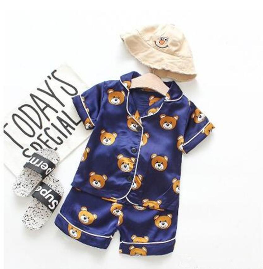 2020 New Summer Children's Pajamas Sets Boys Girls Cartoon Bear Home Wear Kids Two Piece Set Short Sleeved Suit Child Home Clothes Retail