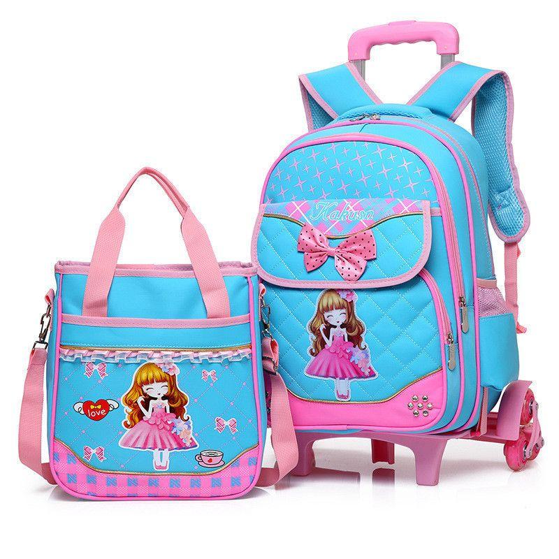 Fashion 2pcs Set School Backpacks 6 Wheels Children School Bags For Girls Handbag Waterproof Cute Kids Travel Trolley Bookbag Y19051701