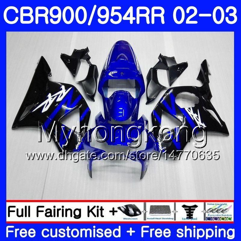 Body For HONDA CBR900RR CBR 954 RR CBR900 RR CBR954 RR 280HM.6 Blue black stock CBR 900RR CBR954RR 02 03 CBR 954RR 2002 2003 Fairings kit
