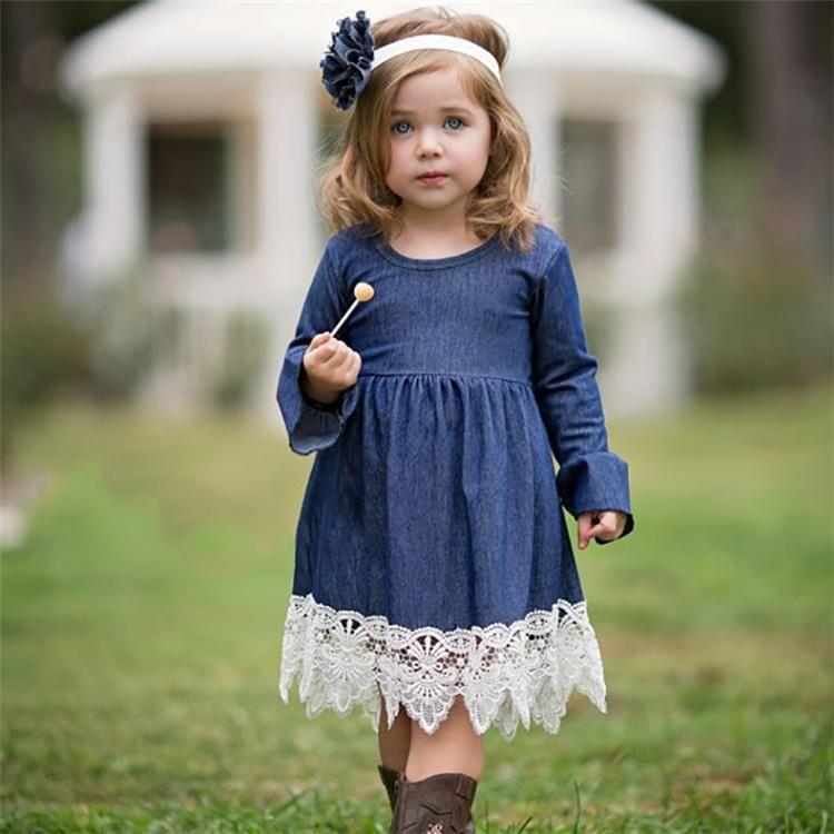 Осень Весна Девушки принцессы Denim платье кружева вечернее платье детей дизайнер одежды девушки Длинные рукава платья партии DHL JY04