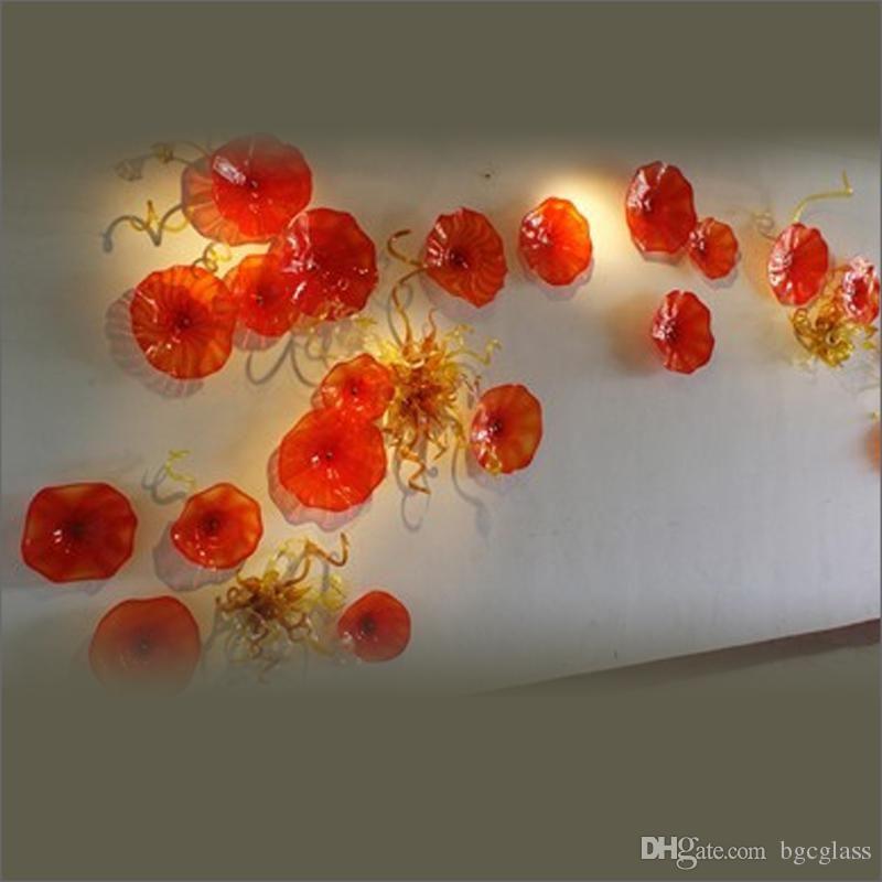 Тиффани стиль рот выдувное стекло настенные плиты отель лобби декор стеклянная стена искусство на заказ муранское стекло Чихули стиль настенное искусство