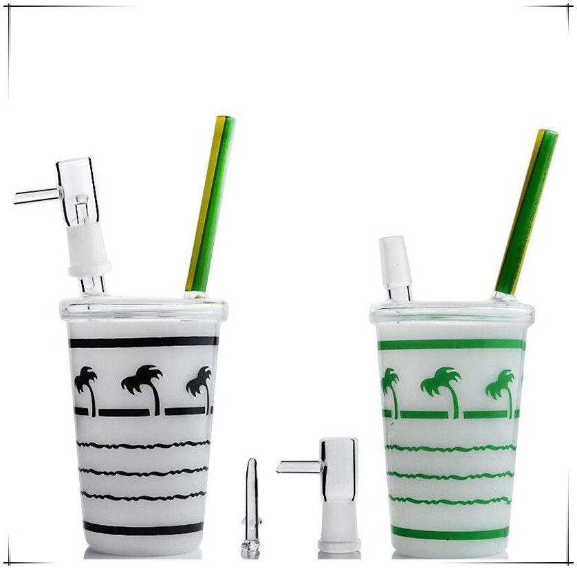 새로운 도착 스타 벅스 Dabuccino 장비 코코넛 나무 단풍 잎 스타 벅스 컵 유리 봉 물 파이프 오일 장비 레드 그린 블랙