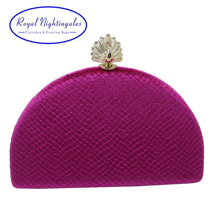Royal Nightingales Velvet Hard Box Evening Bags And Clutches With Peacock Clasp For Women Ball Party Prom Hot Fuschia Y190627