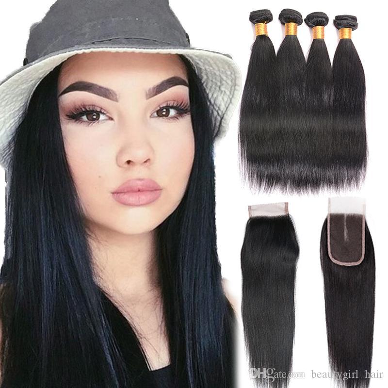 Cabelo humano reto brasileiro da categoria 7A 4 pacotes com os pacotes do Weave do cabelo humano do fechamento 100% com cor natural do fechamento
