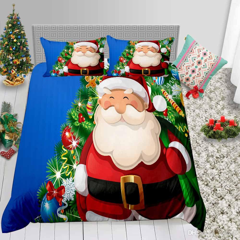 Kids Christmas Bedding Set Twin Size Cartoon 3D Duvet Cover Blue Luxury King Queen Double Twin Full Bed Cover with Pillowcase