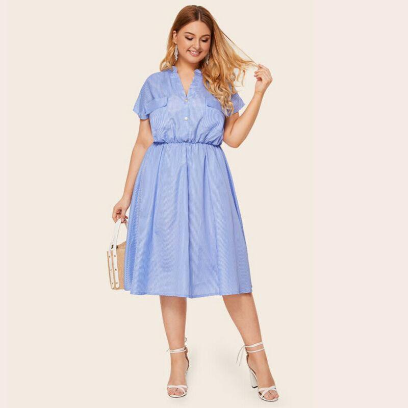 Più i vestiti delle donne vacanze shirt partito dei vestiti sexy collo a V dei vestiti di estate delle signore Beach Night Dress Club Dress 2020 Clothes
