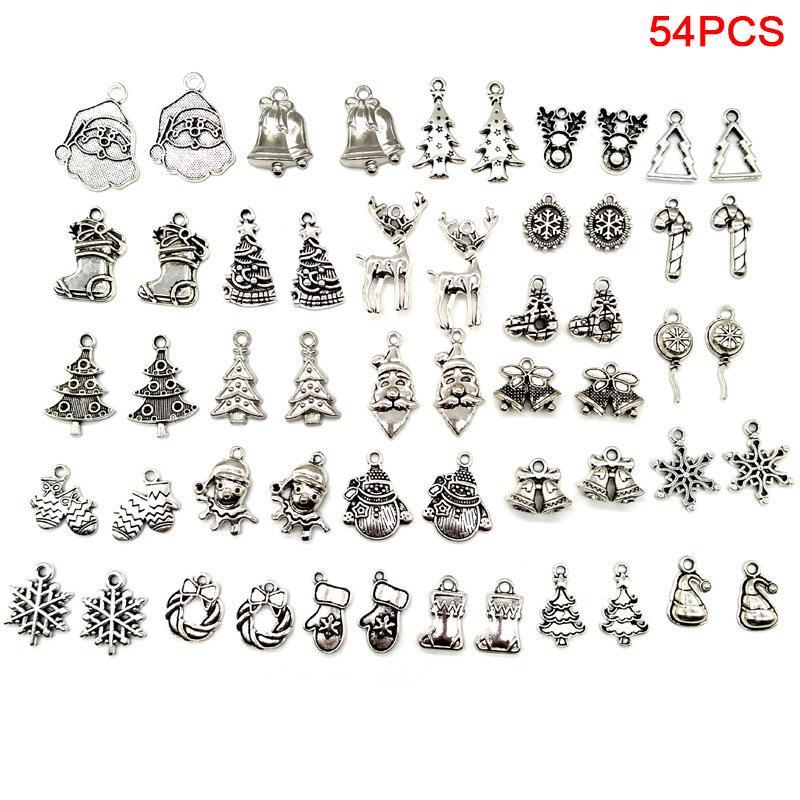 54pcs Weinlese-Metallweihnachtszauber für Armbänder Halskette DIY Metallschmuckherstellung