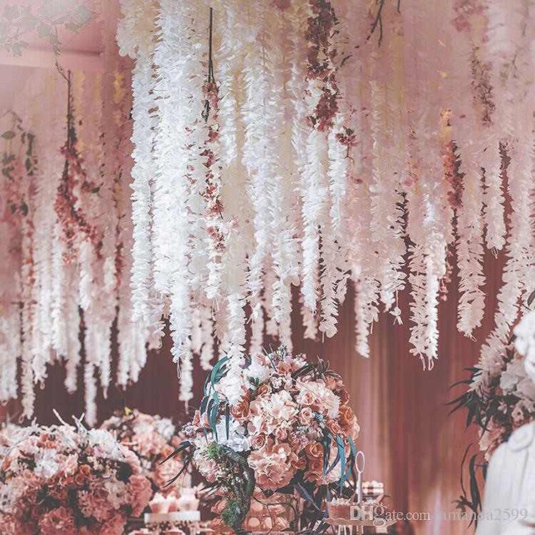 100CM legant Orchidée Wisteria Vignes Chaque Bande De Soie Artificielle Décoratif Sik Fleurs Couronnes Pour Les Décorations De Mariage