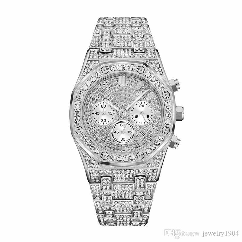 Moderne Herrenuhr Montre de luxe Sliver Chronograph mit Diamant Royal Oak Armbanduhr Damen Designeruhren Tag Datumsuhr