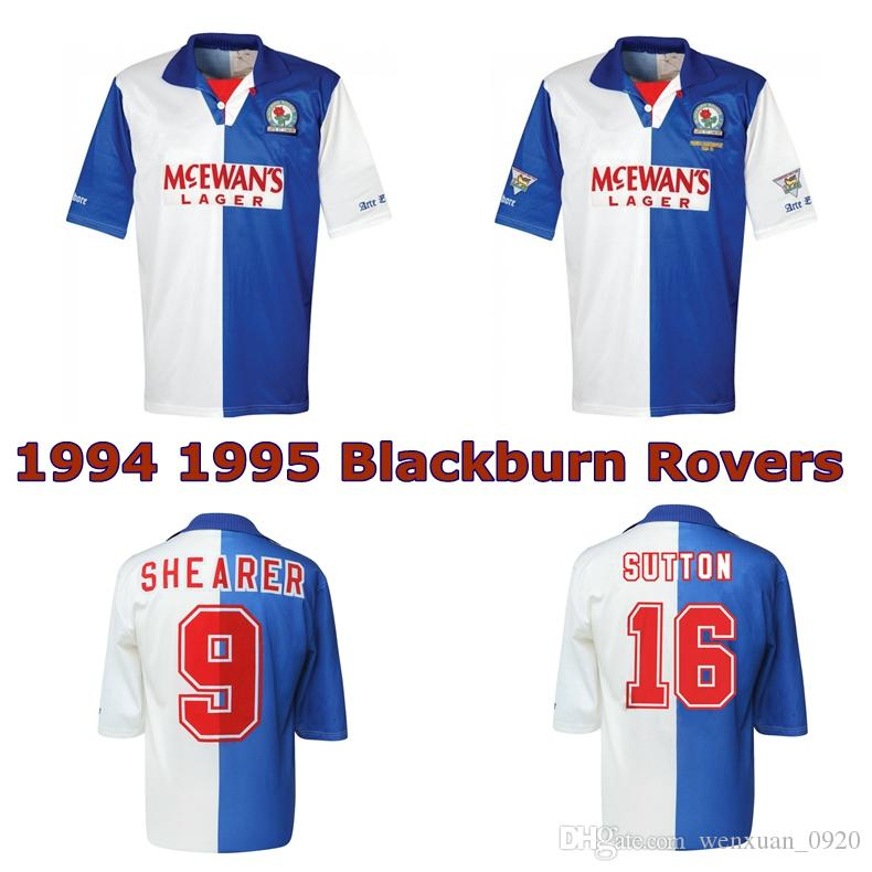 1994 1995 Blackburn Rovers retro camisa de futebol camisa de futebol clássico 94 95 Blackburn Alan Shearer Sutton Hendry SHERWOOD BERG do vintage