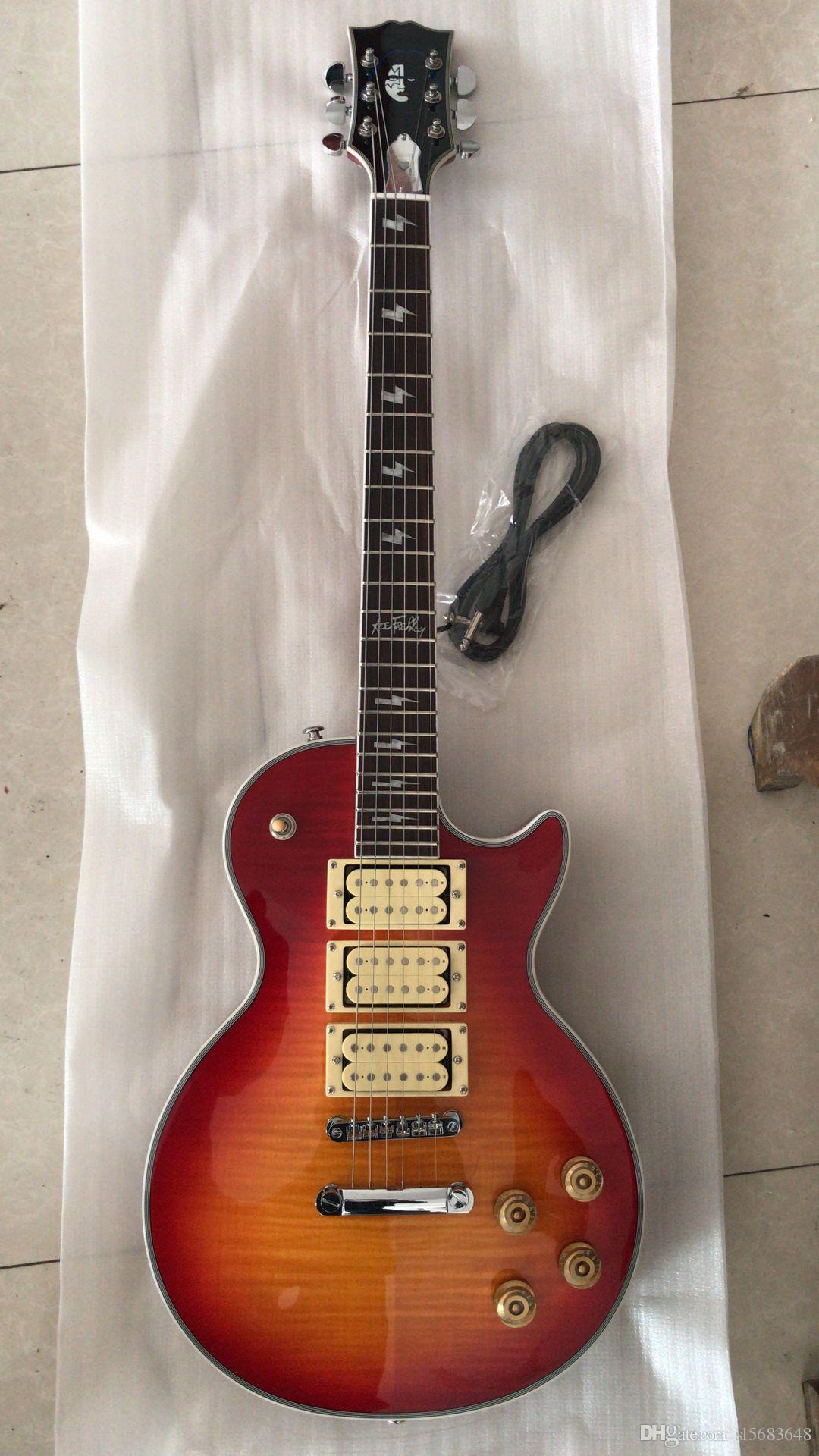 Kostenloser Versand! Großhandel kundenspezifische Qualität 6 String E-Gitarre in Sunburst 0,3 Pickups Hardware-Gitarre Chrom, 180315