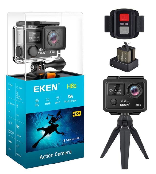 2020 عالية الجودة EKEN H6S الرياضة كاميرا 2.0 + 0.95 شاشة مزدوجة الوضع الكامل EIS فيديو 4K WIFI 170 سوبر عدسة ماء عمل كاميرات محفظة 5pcs DHL