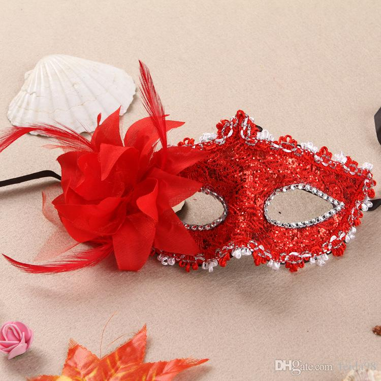 20PCS Nouvelle Venise masque dentelle percer l'eau en cuir masque Lily princesse avec masque de fleurs WL731