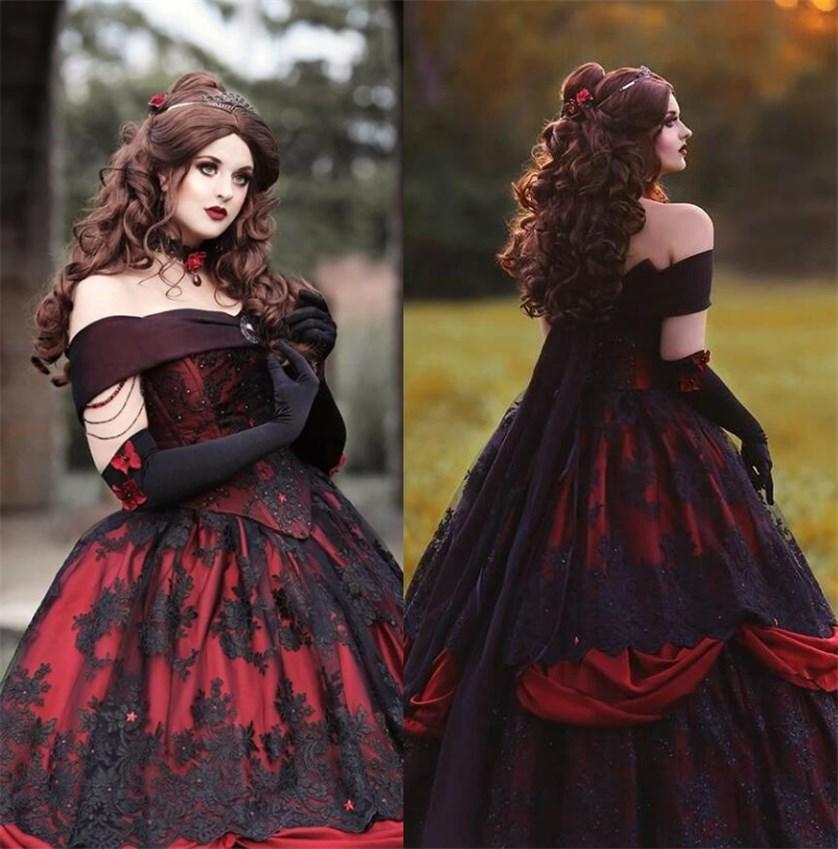 Gothique Belle Rouge Noir haut de gamme fantaisie Robes De Mariée Robe Dentelle Applique exposés désossage Corset dentelle Applique Perles victorienne mascarade