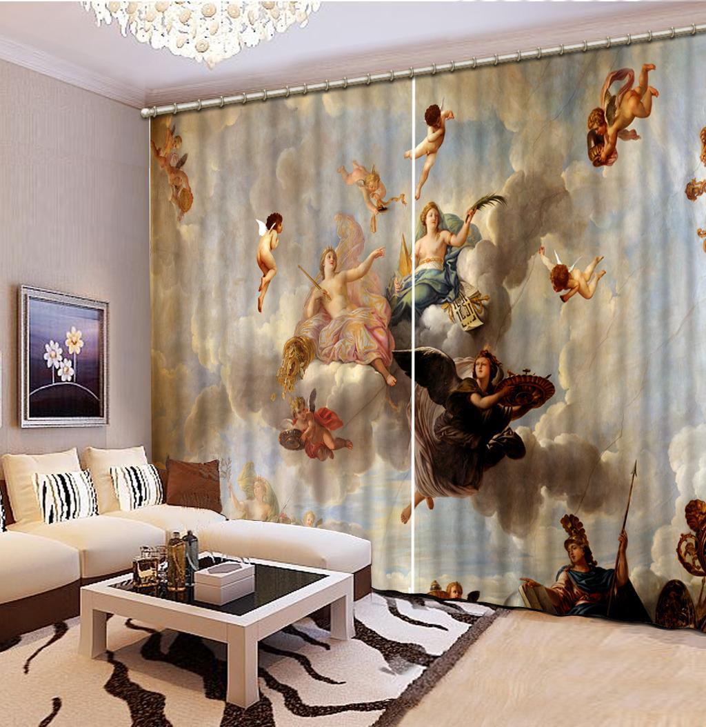 거실 대리석 천사 꽃 3D 창 커튼 유럽 커튼 침실 사진 페인트 커튼