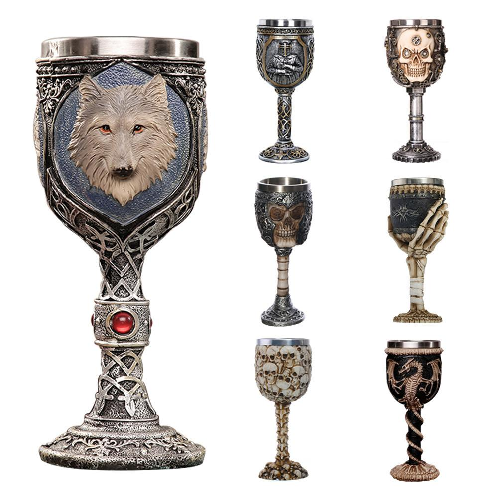 3d Skull Goblet Wolf Goblet Cool Stainless Steel Beer Mug Cup Gift for Men Original Design Halloween Personalized Cup 200ml C18112301