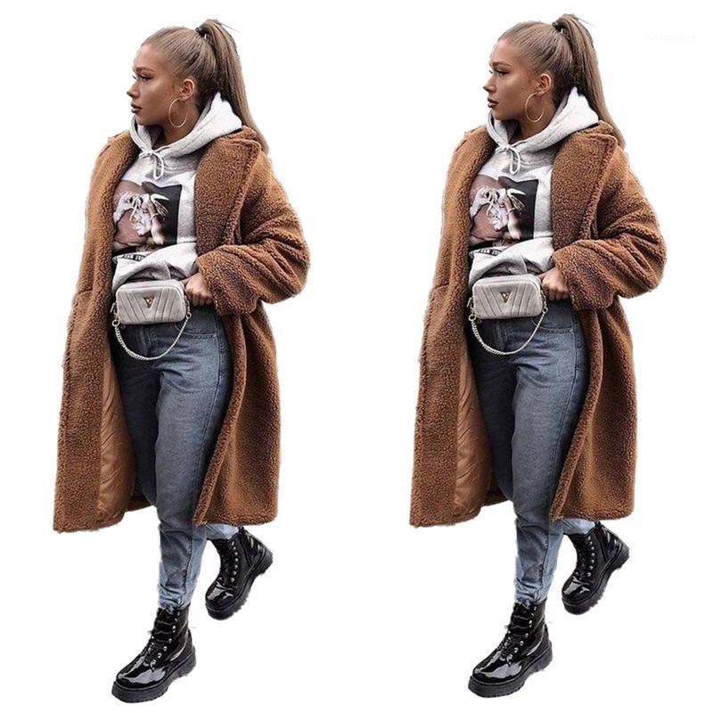 Cou épais à manches Lapel X-Manteaux longs Mode Femmes Manteaux en peluche femmes Manteaux d'hiver élégant en vrac solide Couleur longue