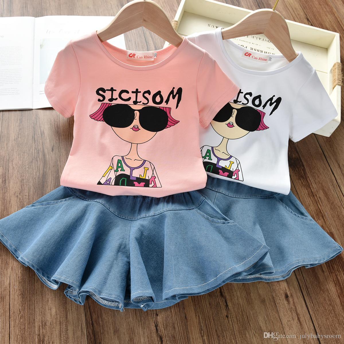 New 2PCS Toddler Kids Girl Clothes Set Summer Short Sleeve Cool Girl T-shirt Tops Skirt Outfit Child Suit New Denim skirt +t-shirt suit