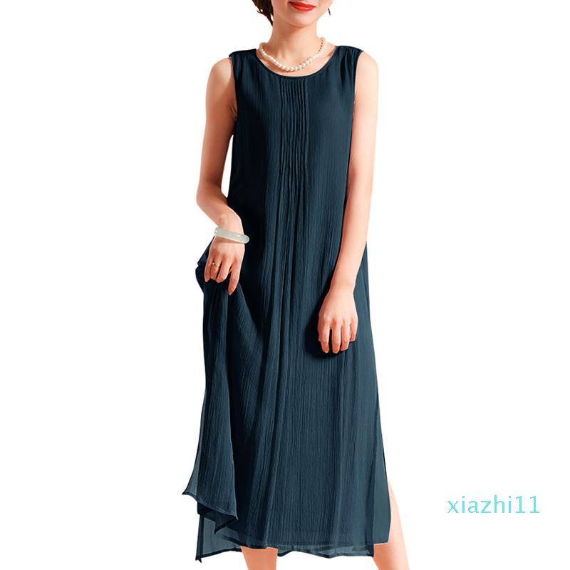 Venda quente do vintage vestido de verão Wome mangas O Neck Side Dividir Casual solta Midi Cotton Vestidos 5XL Além disso feminina Tamanho robe