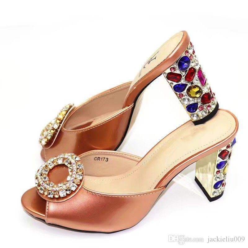 Moda Champagne mulheres pumpss com grande cristal decorar sapatos Senhora africana para GR173 partido, 9cm calcanhar