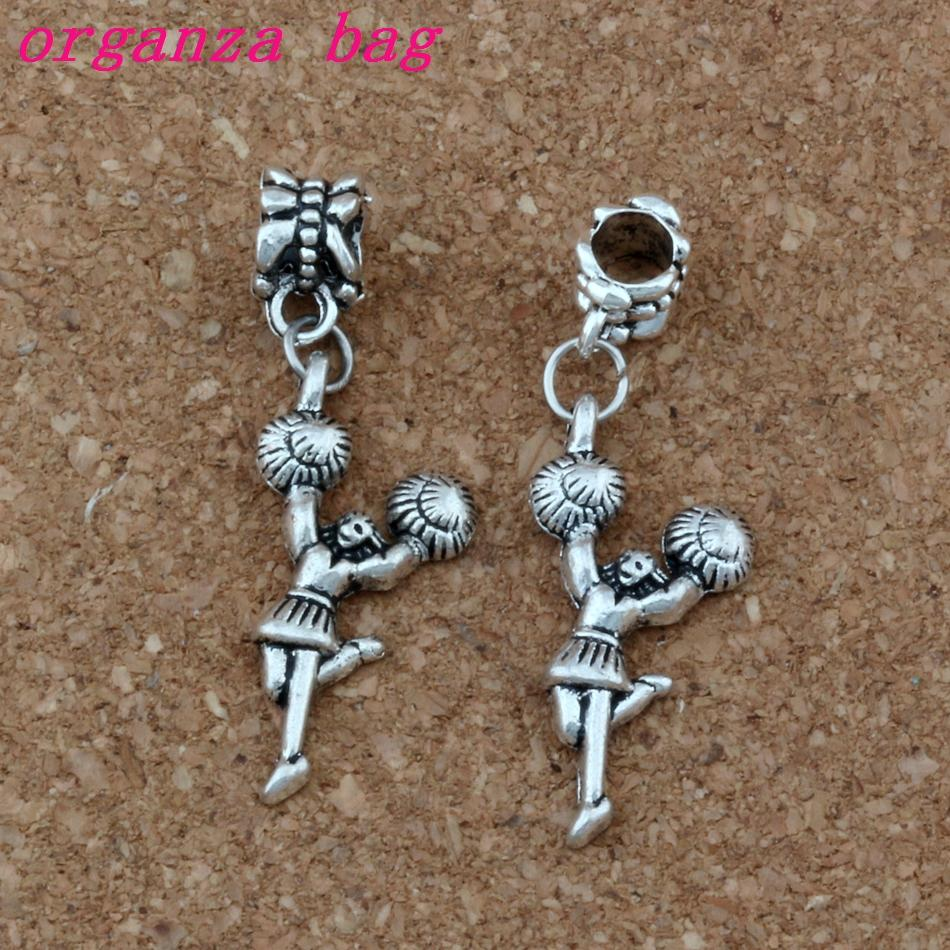 100pcs/lot Dangle Antiqued Silver Cheerleader girl Charm Big Hole Beads Fit European Charm Bracelet Jewelry 13x40mm A-350a