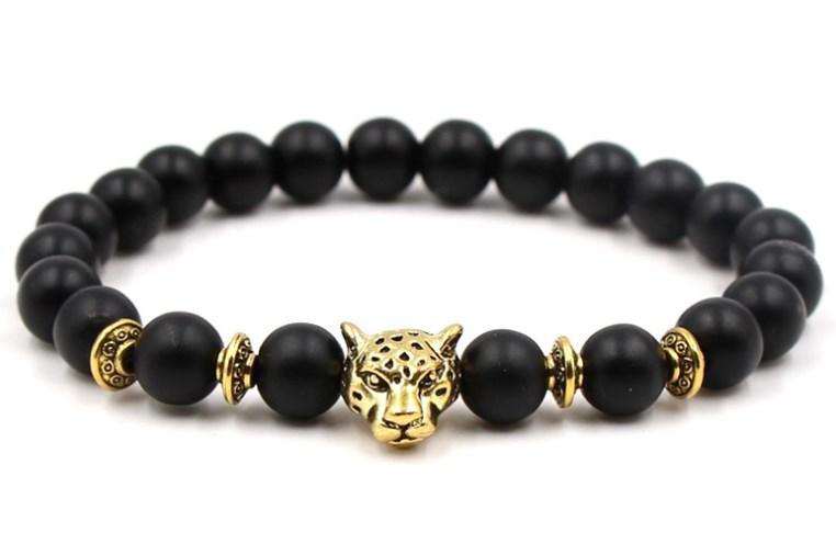 8mm ajusté charme tête nature pierre perle cuivre agate givrée Onyx Bracelet vyh35 tête léopard Reiki Chakra Bouddha Yoga