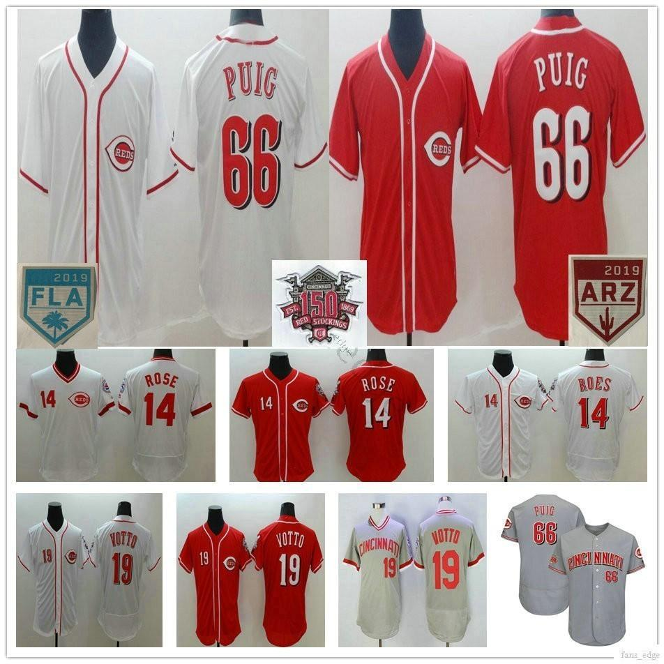Cincinnati Reds costurados 150 Baseball Jerseys 66 YasielPuig 14 White PeteRose 19 JoeyVotto 5 JohnnyBench Red Grey Jerseys