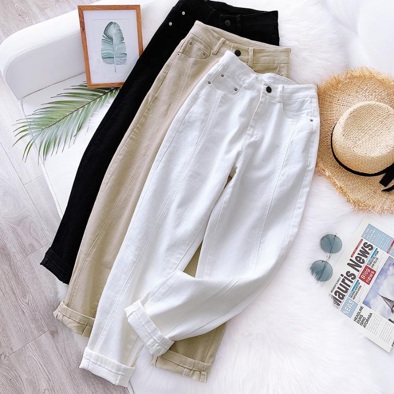 GIGOGOU Primavera Outono cintura alta Mulheres Cortar Harem Calças Sólidos Calças Peg Leg Casual Calças Vestuário cenoura 2020