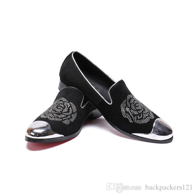 Metal Toe Men Velvet Dress Shoes Luxurious Flats Men's 2019 Fashion Classic Loafers Smoking Slippers Summer