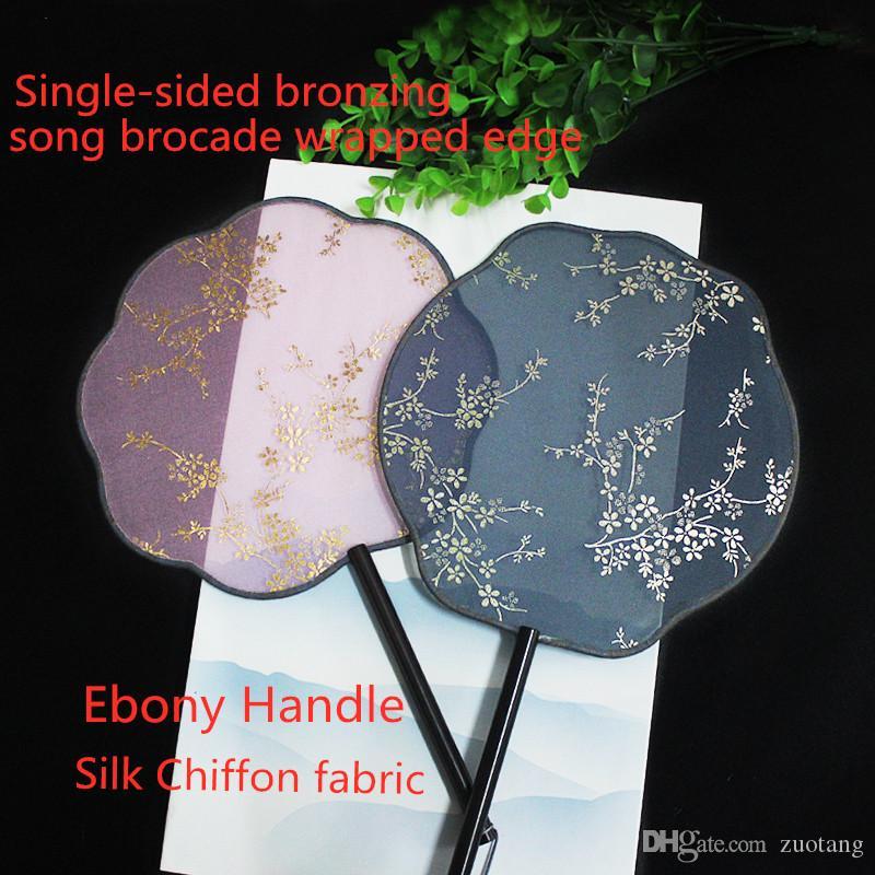 Gilt Do Vintage Rodada Mão Decorativa Ventiladores de Seda Chinesa Fan Dance Costume Prop Fan Ébano Lidar Com