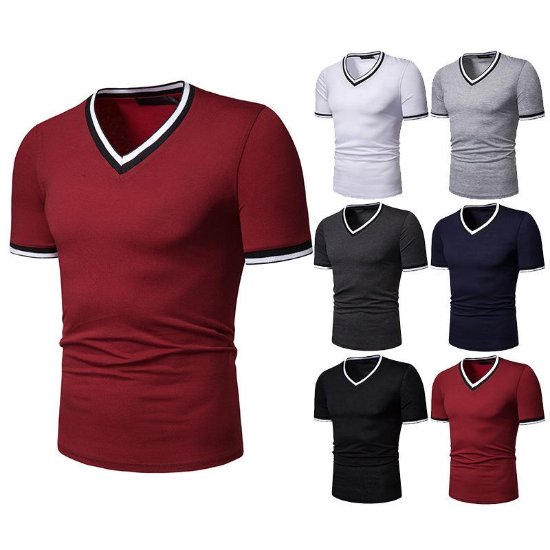 Cool2019 High Section Thin Elastic Split Joint Self-cultivation Man V Lead Short Sleeve T Pity Cacp-d And