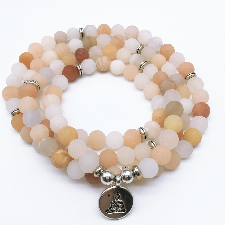 108 Mala Beads, Matte Aventurine Mala Halskette, Gebet Buddhistische Mala Armband, Yoga-Geschenk