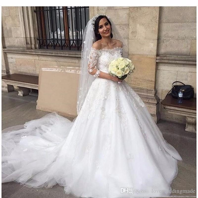 Charming dubai Arabic A Line Wedding dresses Elegant Off Shoulder half sleeves 2019 Cheap Lace wedding dresses Vestido