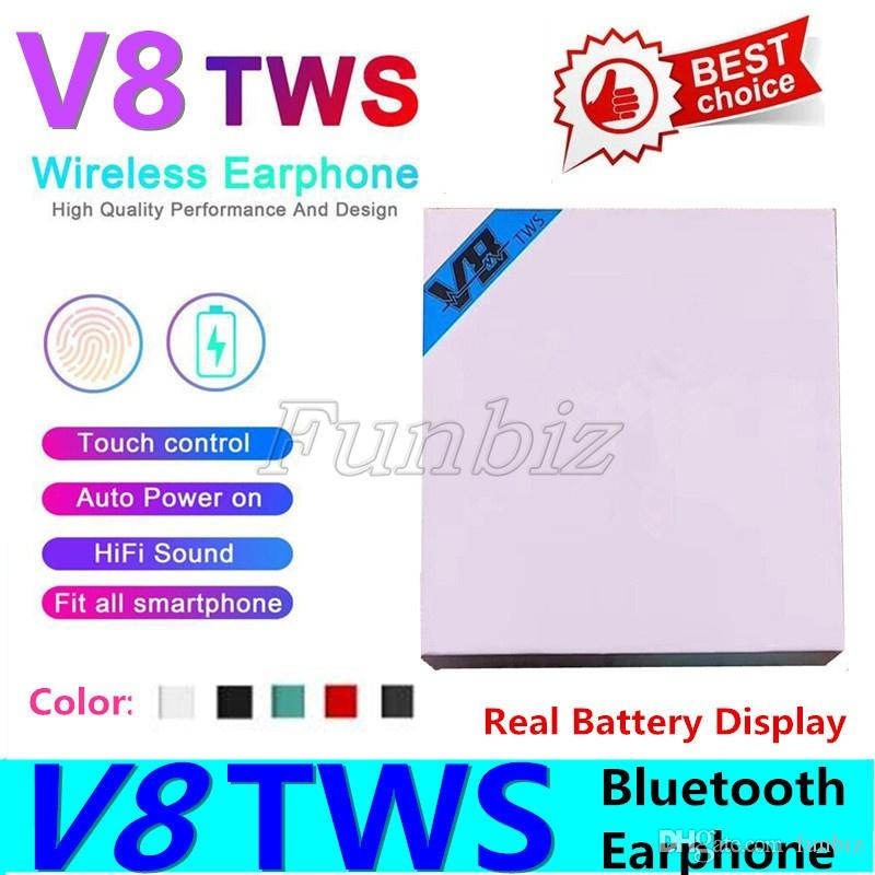 Colorful Wireless V8 TWS Bluetooth 5.0 Earbuds With Popup Window Smart Touch Control Wakeup Siri Stereo Earphone Charging Box W LED Light