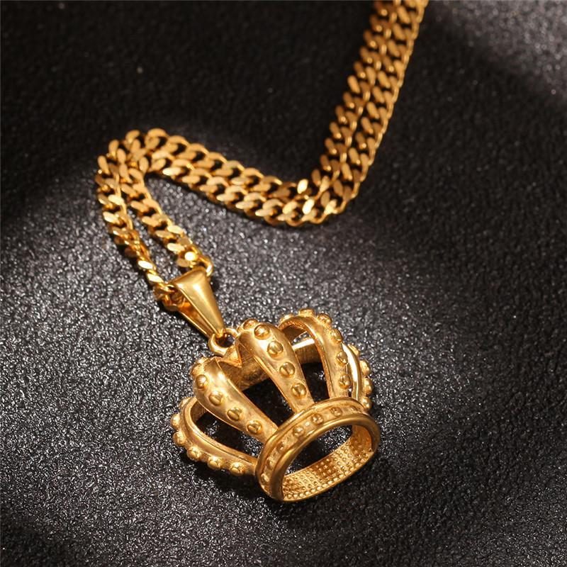 2019 Nuevo Hip Hop Crown Necklace Acero inoxidable Enlace Cubano Estilo europeo y americano para regalo de collar para hombre