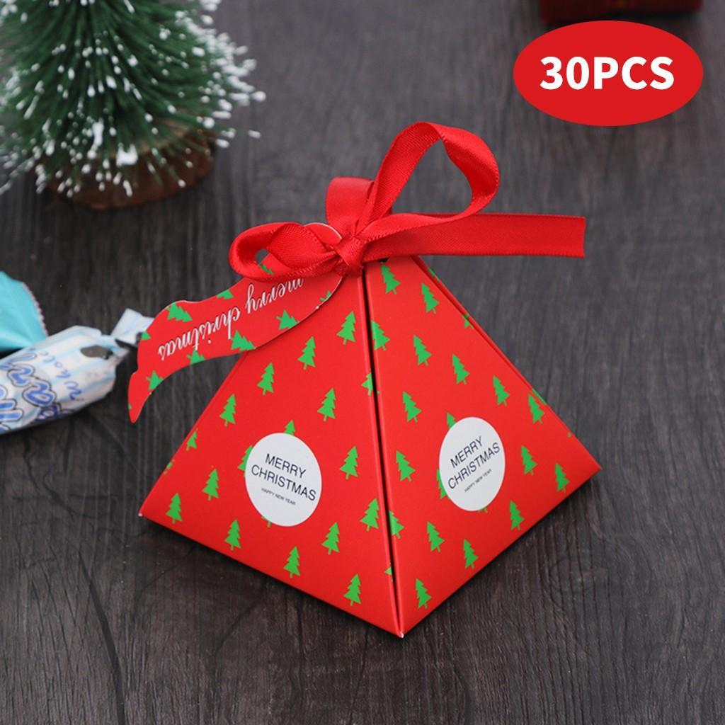 Año Nuevo 2019 del partido de Navidad Bolsa de regalo decoración de fiestas 30 PC Caja de embalaje Bolsas Árbol de Navidad de Santa Claus de Navidad cajas del caramelo de la fruta Bolsa