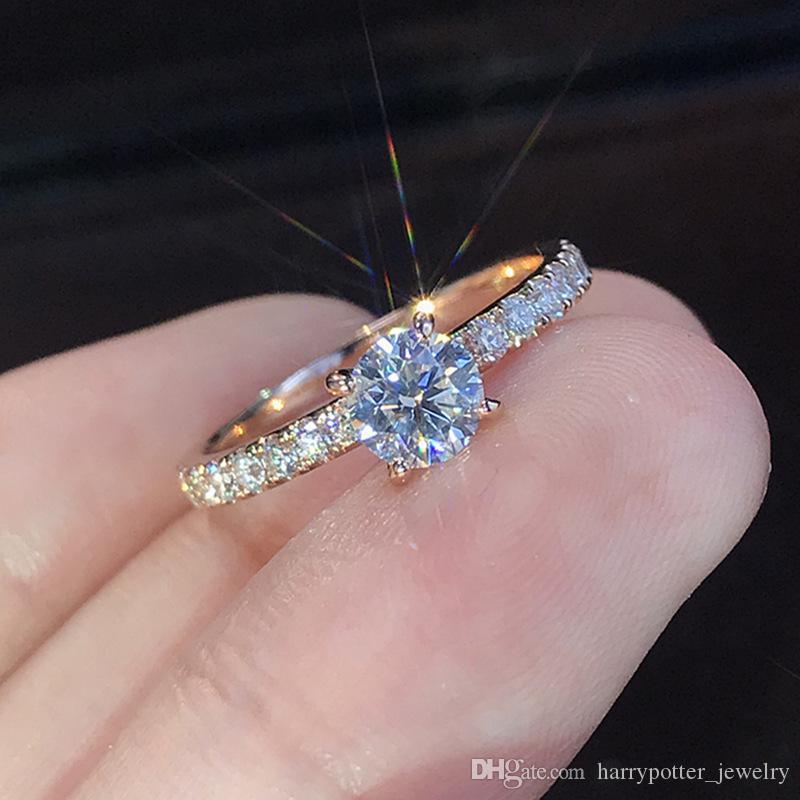 تشيكوسلوفاكيا الماس أعلى الزفاف خاتم الزواج خواتم الخطبة للنساء مجوهرات هدية عيد هدية هدية هدية