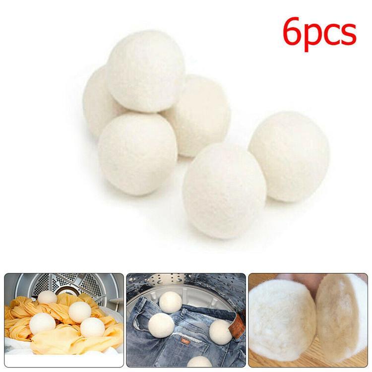 6pcs / Lot Sof Dryer Balls Reduce Strengthenles Reustener Anti Static Large Felted Wols Dryer Ball 50bag T1I1842
