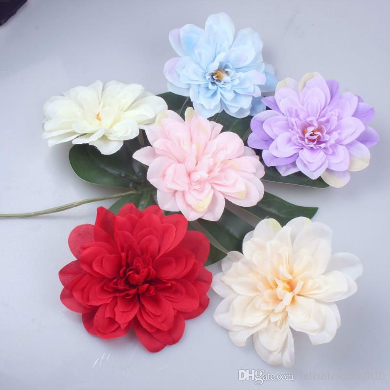 14cm Colorful Decorative Flower Head Artificial Silk Dahlia DIY Home Party Wedding Arch Background Wall Decorative Flower