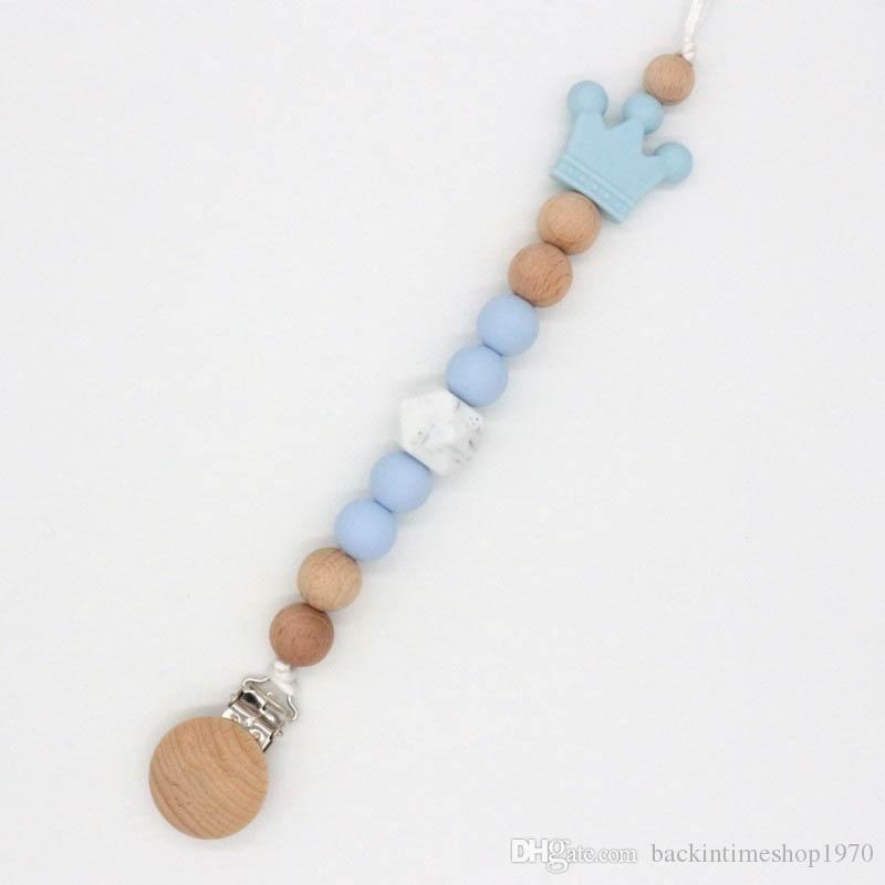 Baby Infant Wood Bead Pacifier Holder Clip Nipple Teether Dummy Strap Chain DD