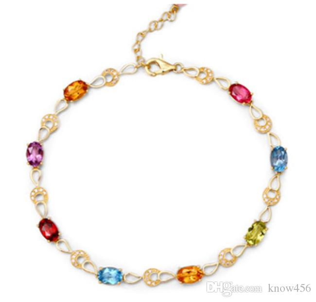 موضة جديدة شخصية قوس قزح سبعة ألوان مطلي 18 كيلو الذهب اللون الكنز سوار الإناث محاكاة التورمالين مجوهرات اليد