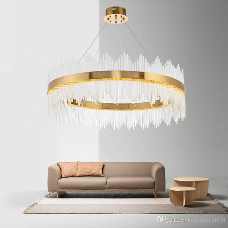 2019 NEW Design Modern Crystal Round LED Pendant Lights Industrial Gold Bar Stair Dining Room Fixtures Single layer double layer