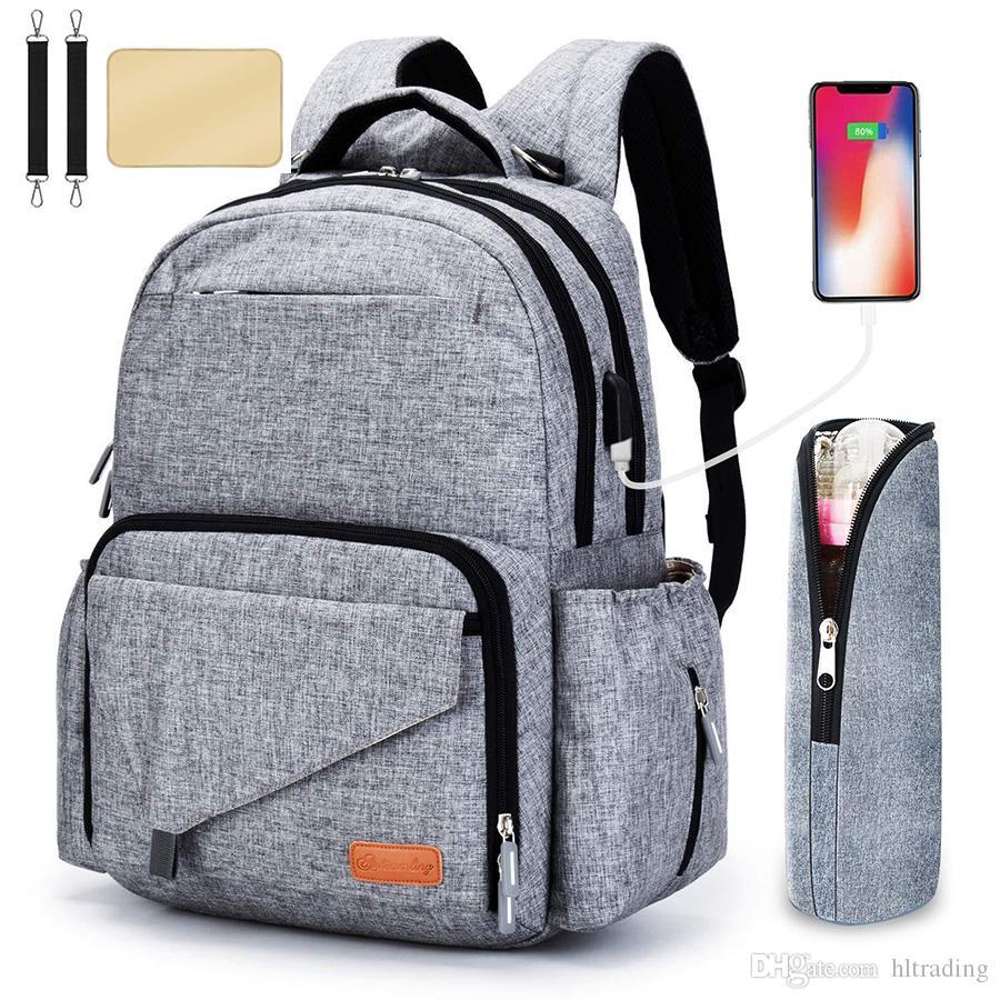 Mommy daddy business casual Bolsas de pañales con correa de cochecito USB bolsa de botella mochila multifunción de gran capacidad para madre M087