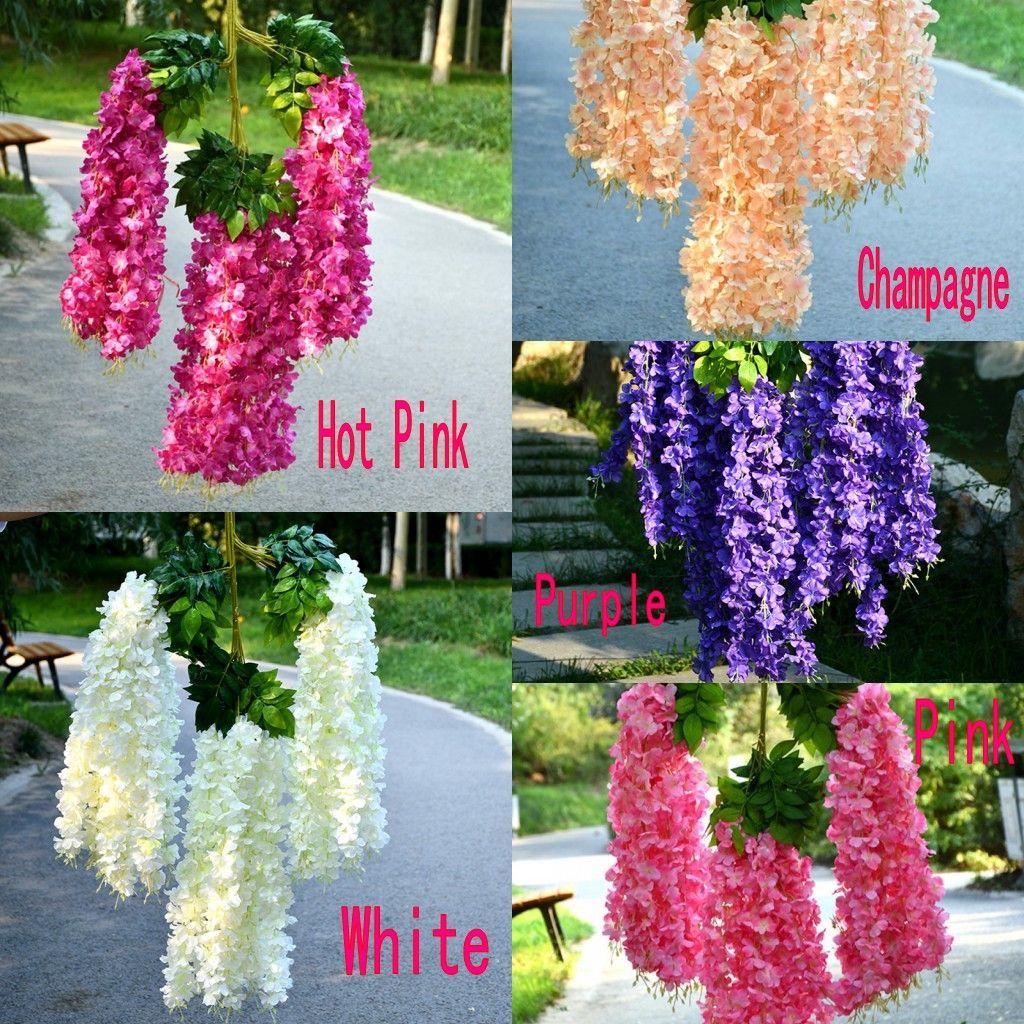 인공 꽃 110cm 암호화 된 백색 정원 웨딩 등나무 장식 포도 나무 실내 야외 컨트리 파티 댄스 파티 롯트 (12 사진)