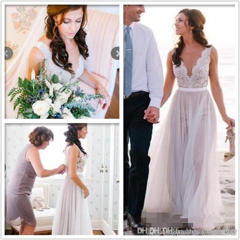 New Arrival 2018 Summer Beach de vestidos linha do casamento Illusion corpete bordado V Neck botões forrados Voltar nupcial Boho Modern vestidos de casamento