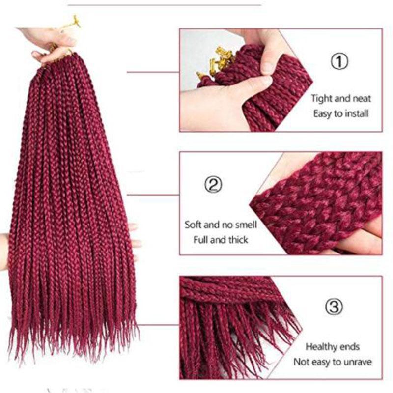 TOP 3Bundles 3X Afro Twist Extension de cheveux Boîte Tresses cheveux africaine Tressage synthétique cheveux Tissages Crochet Twist Soft Touch